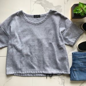J. Crew Grey Drawstring Oversided Crop Top